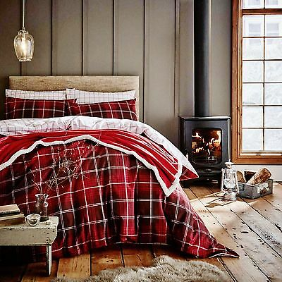 Catherine Lansfield Red Tartan Check 100% Brushed Cotton Flannelette Bedding