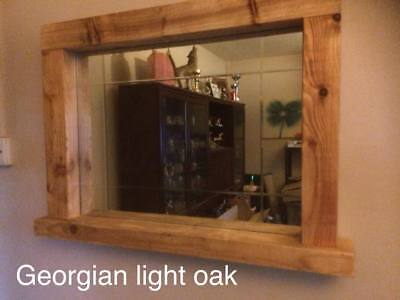 rustic mirror with candle shelf - handmade reclaimed timber - 6 colours