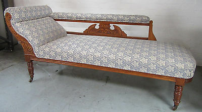Beautiful Antique Upholstered Chaise Longue with Castors