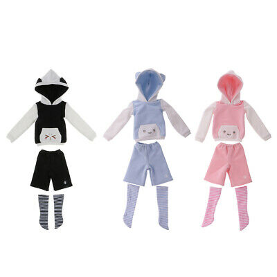3 Sets/Lot Emoji Cat Ear Hoodie Pullover Pants Stockings for 1/4 BJD SD DOD