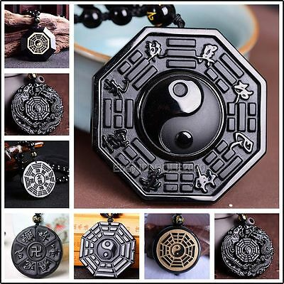 Natural Black Obsidian Hand Carved Chinese BaGua Lucky Pendant + Beads Necklace