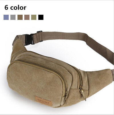 Outdoor Canvas Bag Men Mini Waist Sport Travel Bag Money Belt Zip Pouch Wallet