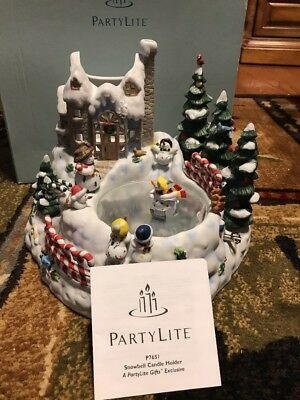 PARTYLITE Snowbell Candle Holder P7651 Musical Frosty Skating Pond NIB