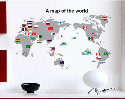 New Gray Color World Map National Flags Wall Sticker Decal Vinyl Art Home