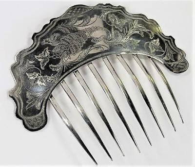 ANTIQUE COIN SILVER BRILE CAT HAIR COMB Lot 148