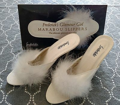 Frederick's Marabou White Feather Sexy Satin Slippers Slip On Shoes Size 9