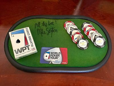 Mike Sexton Autographed Poker Pad with Poker Chips & Cards
