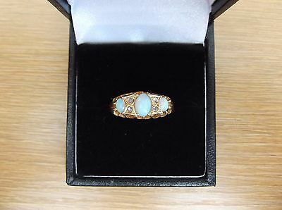 Beautiful Antique 18ct Gold Opal And Diamond Ring Size Q