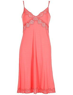 Ladies Famous Make Slinky Lace Full Slip. Beige Or Coral. 2 Lengths. Sizes 8-16.
