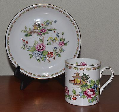 Crown Staffordshire Pagoda Delicate Demitasse Teacup, Saucer. Vintage from 1970s