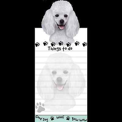 White Poodle Dog Magnetic Grocery List Pad Sticky Notes Magnet Refrigerater