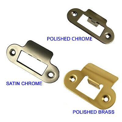 Replacement Radius Corner Strike Plate, Polished Brass / Satin Chrome Finish