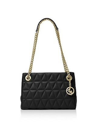 3f04bda0a354 MICHAEL Michael Kors Scarlett Quilted Leather Shoulder Bag Black Gold  328