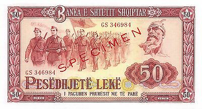Albania  50  Leke  1976  Series GS  Specimen  Uncirculated Banknote SD8/5
