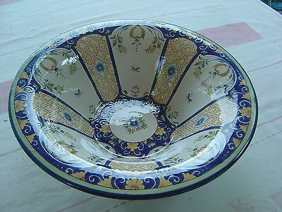 Grand Coupe En  Faience -Signe Roullet Renoleau - Decor  Rouen -Ttbe