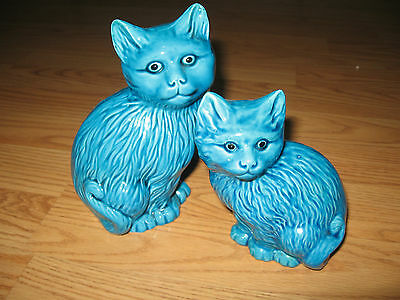 2 Chinese Blue Cat Statues ONE OLD ONE IS  MARKED