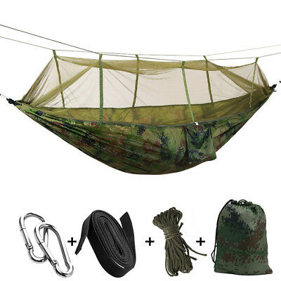 Travel Outdoor Camping Tent Hanging Parachute Hammock Bed Mosquito Net Camo
