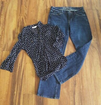 Lot of Old Navy Jeans SZ 2 and Aeropostale polka dot shirt