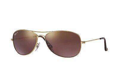 RAY-BAN CHROMANCE POLARIZED SUNGLASSES RB3562 001/6B Gold Frame/Purple Lens NEW