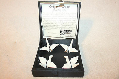 Four Origami Crane Chopstick Rests, Porcelain w/Box Discovery Channel Store