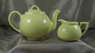 VINTAGE Hall LIPTON TEApot & CREAMER ButterCup Yellow  U.S.A.  EXCELLENT 3pc