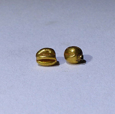 2 X Lovely Ancient Roman Gold Beads - Circa 2Nd Century Ad No Reserve