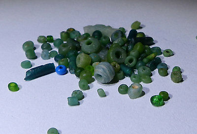 Ancient Roman Green Glass Beads Circa 2Nd Century Ad - No Reserve!!!!