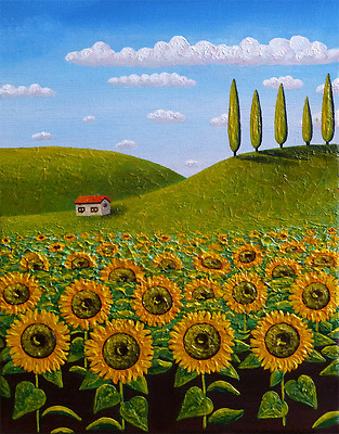 Tuscany sunflowers field original painting on canvas in acrylic ready to hang
