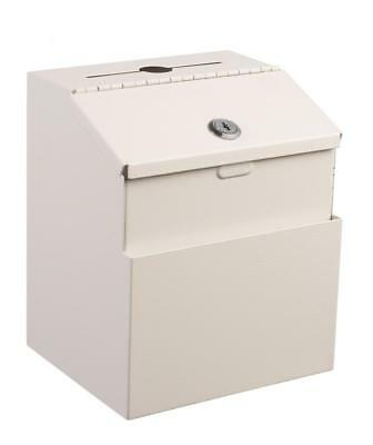 Adir White Wall Mountable Steel Suggestion Box W/ Lock Collection Box Charity