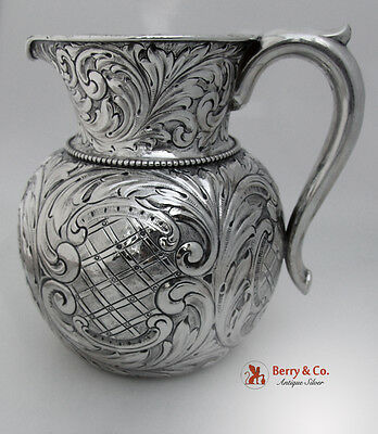 Ornate Repousse Water Pitcher Gorham Sterling Silver 1901