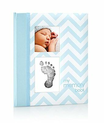 Pearhead Baby Boy Photo Journal Album Book with Clean-Touch Ink Pad Blue Memory