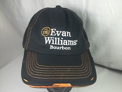 NEW! Evan Williams Bourbon Whiskey Black Cotton Baseball Cap Hat Distressed NEW!