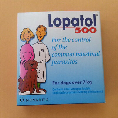 Swiss NOVARTIS LOPATOL 500 Oral Wormer Tablet Roundworm Tapeworm Worms for Dogs