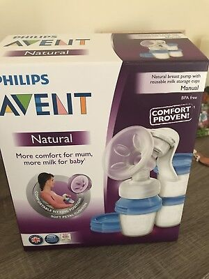 New Avent Manual Breast Pump Plus 3 Bottle