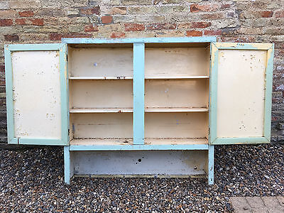Vintage industrial cupboard storage unit in aluminum painted finish old retro