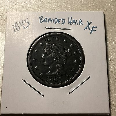 1845 US. Braided Hair Large Cent /XF ( full liberty )