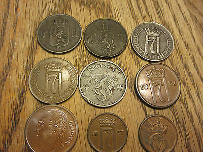 9 coins from Norway 1899-1969