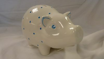 Tiffany & Co Hand Painted Blue Polka Dot Earthenware Piggy Bank