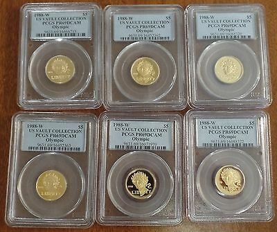 1988-W $5 US Olympic Proof Gold Coin! PCGS PR69 DCAM!  US Vault Collection