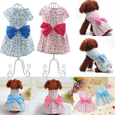 Pet Dog Cat Clothes Cute Bow Dress Flower Cotton Puppy Apparel Coat Costume