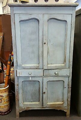 Antique Primitive Old Robins Egg Blue Painted Pie Safe Jelly Cupboard Aafa
