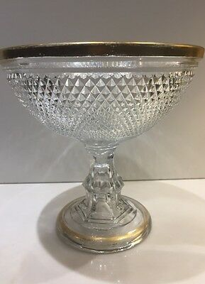 19Th Century Diamond Point Pattern Cut Glass Fruit Compote