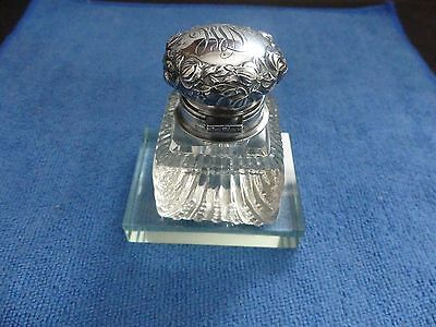 George Shiebler Sterling Silver Repousse and Cut Glass Inkwell 7954