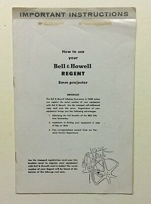 Orig. Bell & Howell Regent 8Mm Projector Manual  Manual In English