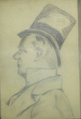 W C Fields ORIGINAL Pencil or charcoal DRAWING CARICATURE unknown artist