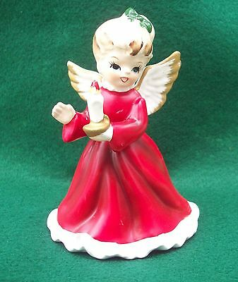 VINTAGE NAPCOWARE CERAMIC ANGEL WITH CANDLE FIGURINE # x-6964