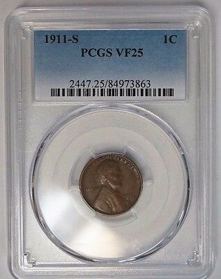 1911 S 1C Lincoln Cent Wheat Penny PCGS Very Fine VF 25