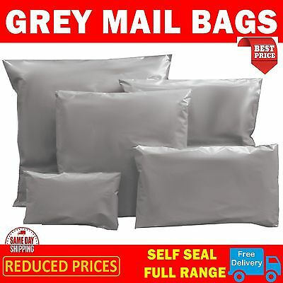 "50 BAGS - 13"" x 19"" STRONG POLY MAILING POSTAGE POSTAL QUALITY SELF SEAL GREY"