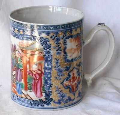 C18Th Chinese Famille Rose Tankard Decorated With Various People In A Garden A/f