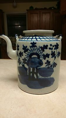 """Antique Chinese Porcelain Blue and White Teapot, Metal Handles 7"""""""